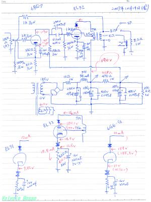 6BQ7-EL32シングル真空管ヘッドフォンアンプ 回路図