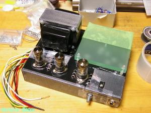 ECC85-EL91シングル真空管アンプ