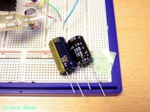 電源部のリップルフィルター(π型フィルター)の一段目コンデンサーを820μF→100μFへ変更