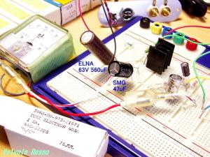 電源部のリップルフィルター  560μF→2KΩ→47μFという構成にしました。