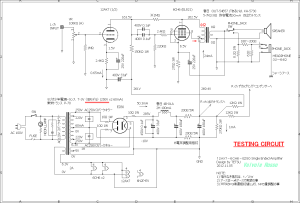 12AX7-6CH6-EZ80 Single Ended Amplifier (Tube Headphone Amplifier) testing circuit 回路図