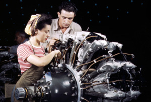 Women are trained as engine mechanics in thorough Douglas training methods, at the Douglas Aircraft Company in Long Beach, California, in October of 1942. (Alfred Palmer/OWI/LOC)