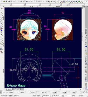 ヘンリエッタ・ヘッドの頭部周囲寸法(=ウイッグ寸法)をQちゃんに合わせます。