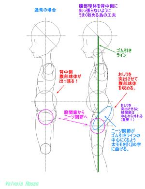 球体関節人形デッサン~腹部球体を背中側に出っ張らないようにうまく収めるため工夫した設計検討図