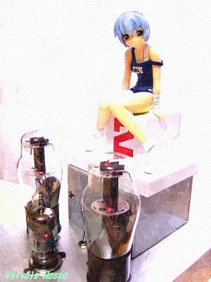 6DJ8-1626シングル真空管アンプ と SEGAプライズ 新世紀エヴァンゲリオンEX feat.ぽよよん・ろっく 綾波レイ 水彩画