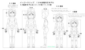 球体関節人形デッサン~イージースリップ(モデリング・キャスト)10%収縮対応モデルの設計図