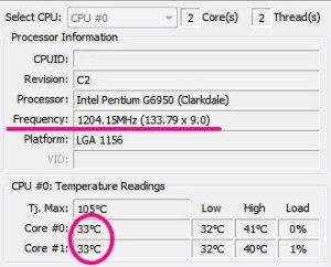 私の場合ですと、通常は、133.79 x 9.0倍=1.2GHz でCPUが稼働しています。