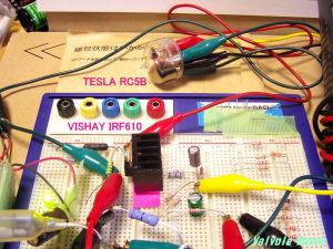 TESLA RC5B VISHAY IRF610 に24Vの低電圧を掛けてみた。