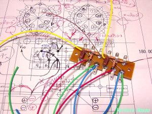 平ラグに、FET固定バイアス抵抗、ゲート抵抗、ゲート保護ツェナー等をハンダ付けしていきます。