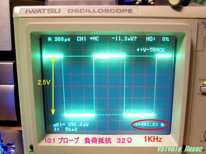 Output Voltage measured on Oscilloscope (  Load resistor 32 ohm ) JJ ECC802S - IRLI520N hybrid Headphone Amplifier (Tube Headphone Amplifier) 負荷 32Ω 周波数 1kHz