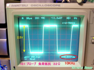 Output Voltage measured on Oscilloscope (  Load resistor 32 ohm ) JJ ECC802S - IRLI520N hybrid Headphone Amplifier (Tube Headphone Amplifier) 負荷 32Ω 周波数 10kHz