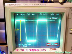 Output Voltage measured on Oscilloscope (  Load resistor 32 ohm ) JJ ECC802S - IRLI520N hybrid Headphone Amplifier (Tube Headphone Amplifier) 負荷 32Ω 周波数 20kHz