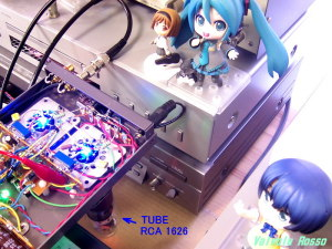 JJ ECC802S 真空管ハイブリッドヘッドフォンアンプに1626を挿して、シャーシをひっくり返して各部を測定します。
