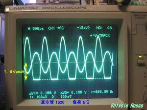 真空管を 1626 に変更してアイドリング電流を増やしましたので、8Ω負荷だと波形の負側が 1.9Vpeak のところでクリップします。