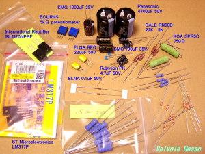 International Rectifier IRLI520NPBF、ST Microelectronics LM317P、BOURNS 5kΩ potentiometer、1000uF 35V(日本ケミコンKMG)、4700uF 50V(松下)、100uF 35V(日本ケミコンSMG)、4.7uF 50V(ルビコンPK)、0.1uF 50V セラコン、ELNA RFO ピュアキャップ 220uF 50V、ゲート保護用のツェナーダイオード、エルナー・フィルムコン 0.1uF 50V、BOURNS 5KΩポテンショメータ、KOA SPR5C 電力抵抗、デールRN60D、タクマン1酸金抵抗、1/2Wカーボンフィルム抵抗