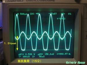 EL32 負荷8Ω 抵抗(15Ω)の場合の出力電圧