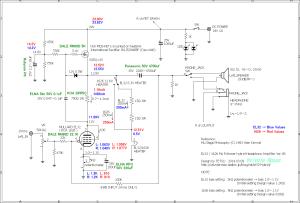 EL32 / 1626 Mu Follower hybrid Headphone Amplifier (Tube Headphone Amplifier) Ver.08 circuit 回路図と各部の電圧値