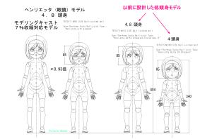 球体関節人形デッサン~ ヘンリエッタ眼鏡っ娘ver.(低頭身モデル) モデリング・キャスト7%収縮で×0.93倍に縮小してみた設計図