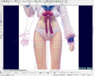 マックスファクトリー長門有希の写真を、CAD画面にテンプレートで読み込んで太腿の太さを比べてみた。(拡大版)