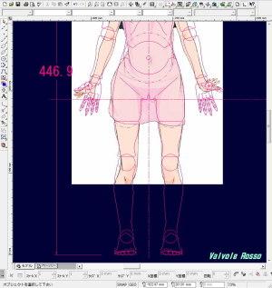 どこぞの絵師さまが描いた? たまこまーけっと 北白川あんこのイラストを、CAD画面にテンプレートで読み込んで太腿の太さを比べてみたら、なぜだかピッタリだった。。。(汗 (拡大版)