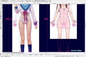 マックスファクトリー長門有希の写真を、CAD画面にテンプレートで読み込んで太腿の太さを比べてみた。
