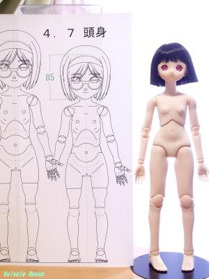 球体関節人形デッサン~ 4.7頭身モデルの設計図を PARABOX 40cmボディ+Aiちゃん彩色済ヘッド と比べてみた。