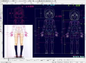 脚の長さを短く調整した写真をCADにテンプレートで読み込んで、球体関節人形の設計図の検討をします。