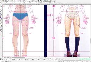 SEGAエンドレスエイト長門有希フィギュアの写真をCADにテンプレートで読み込んで、太腿の内側の肉付き具合を検討してみた。