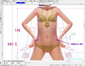 球体関節人形デッサン~ 写真をCADにテンプレートで取り込んで骨盤の出っ張りと腹部球体の位置を検討します。