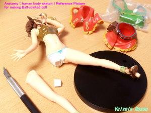 球体関節人形デッサン~ Anatomy ( human body sketch ) Reference Picture for making Ball-jointed doll 接着剤で固定されているのでドライヤーでガンガン熱くしてPVCがクニョクニョに柔らかくなったら脚を捻って引き抜きます。