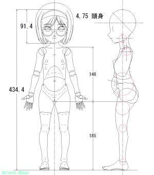 球体関節人形デッサン~ ボディ側面図(断面図)の設計図がいちおう完成。。。