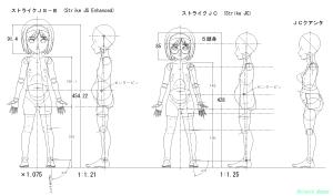 球体関節人形デッサン~ ボテ腹ストライクJSの絵を描いたのですけど、仕上がり寸法(全長)が大きいので、ストライクJCへ変更した。