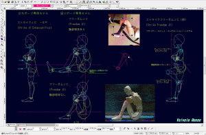 球体関節人形デッサン~ 座りポーズ専用モデル「 フリーダムJC (体育座りver.) 」「腹部球体なし」タイプのヒザ周辺の検討しています。