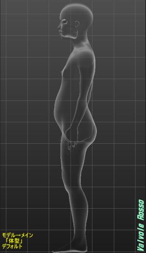 MakeHuman 1.1.1 モデル→メイン 「体型」 デフォルト 側面透視図
