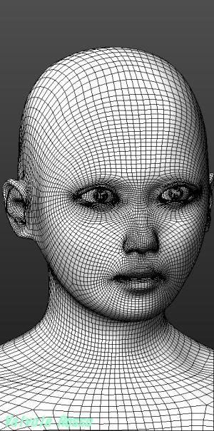 MakeHuman 1.1.1 アジア人100%にして「平たい顔族」を作ってみた。ワイヤーメッシュにして確認する。それほど残念じゃなくなったかな?