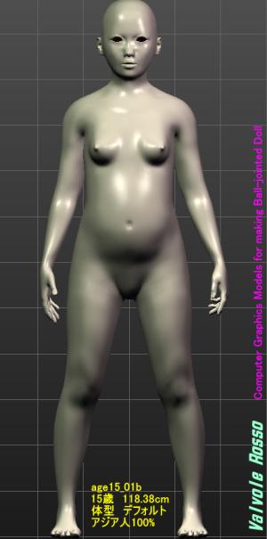 MakeHuman 1.1.1 アジア人100%にして「平たい顔族」を作ってみた。なお、モデルの年齢は15歳くらいにしてみた。
