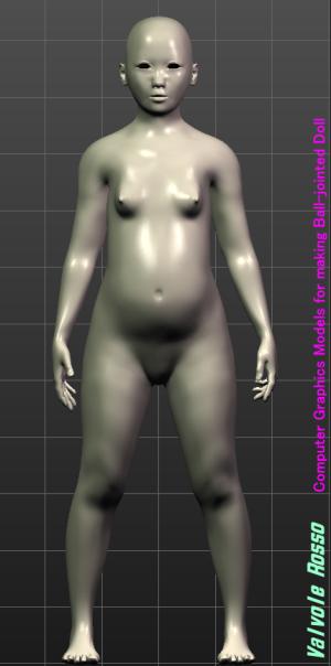 球体関節人形デッサン~ MakeHuman 1.1.1 JKモデルは野暮ったくてイケてない感じをイメージしてみた。