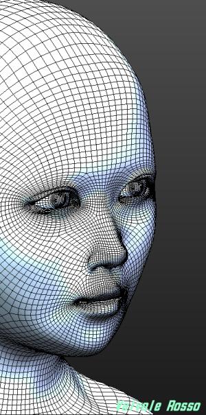 球体関節人形デッサン~ MakeHuman 平たい顔族モデル→ 目元を涼しく。鼻筋をスッと通す。顎を細く修正して繊細な思春期を表現してみた?