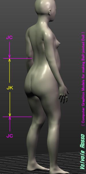 球体関節人形デッサン~ MakeHuman 1.1.1 で制作した14歳日本人モデルのお尻をJKっぽくなるようにを修正してみた。( Computer Graphics Models for making Ball-jointed Doll )