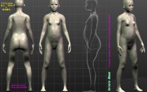 球体関節人形デッサン~ MakeHuman 1.1.1 アジア人65%白人35%+低年齢化した13歳モデルをCADに下絵として読み込むために、正面図・側面図(ボディ断面透視図)をまとめてみた。 【設計図描画用テンプレート】 ( Computer Graphics Models for making Ball-jointed Doll )