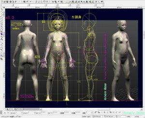 球体関節人形デッサン~ MakeHuman 1.1.1 顔の彫りを若干深くした13歳モデルをCADに下絵として読み込んで、腹部球体がうまく配置できるか検討します。