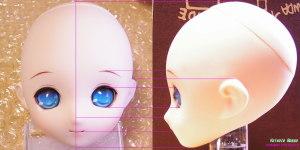 2) 市販ドールヘッドの写真から下絵を作る。(PARABOXアイちゃんヘッド)