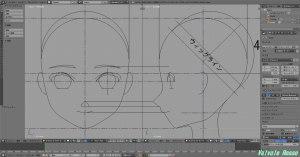 上記の「かんたんBlender講座」の「顔のモデリング」そのまんまカワイイ系(アニメ調?)ドールヘッドを制作していきます。