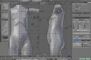 球体関節人形デッサン~ 「かんたんBlender講座」でボディの制作に挑戦。 胴体メッシュの切り方はProject-6B(6B計画)を参考にした。