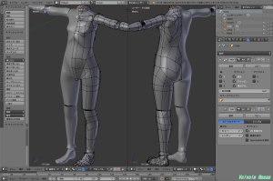 球体関節人形デッサン~ 「かんたんBlender講座」で人体モデリングのお勉強。。。ボディ、腕、手、脚、足ができたので、細部を修正したら球体関節を仕込みます。