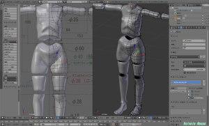 3DCG統合ソフト Blender で、球体関節人形をモデリングしています。現在のところ、ドールボディの細かい部分を修正中。