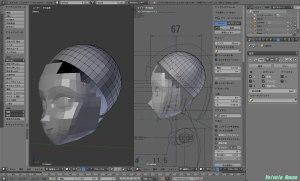 「かんたんBlender講座」で制作したドールヘッドの後頭部を削除して、45°傾けた半円球に置き換えます。