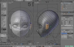 三角ポリゴンとかメッシュが集中している部分を耳の位置に持ってきたら、耳のカタチになりそうだったので、そのまま押し出しで耳を作る事にした。