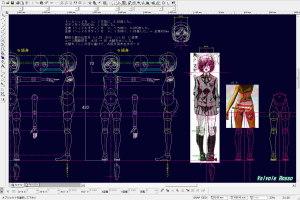 球体関節人形デッサン~ 「ヒメノスピア」園藤姫乃の設計図を描画中。胴体と脚の比率を 1:1.25 から 1:1.35 に変更して、太腿を「く」の字に曲げてお尻を突き出すポーズにした。