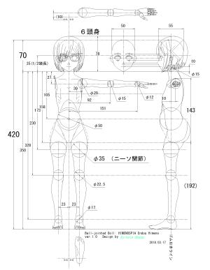 球体関節人形デッサン~ Blenderモデリングの下絵に使用するCAD設計図《6頭身》。「ヒメノスピア」園藤姫乃のつもりです。。。(汗